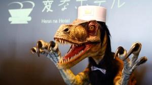 "A front desk robot performs at robot hotel ""Henn na Hotel"" in Sasebo, western Japan, Wednesday, July 15, 2015. (AP Photo/Shizuo Kambayashi)"