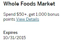 Amex Offers Whole Foods