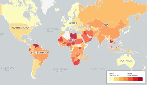 Map World Dangerous Places to Drive