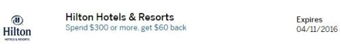 Hilton 300 60 Amex Offer
