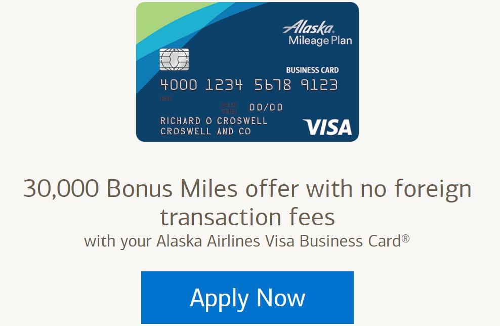 alaska airlines business card 30k miles sign up bonus danny the deal guru - Visa Business Card