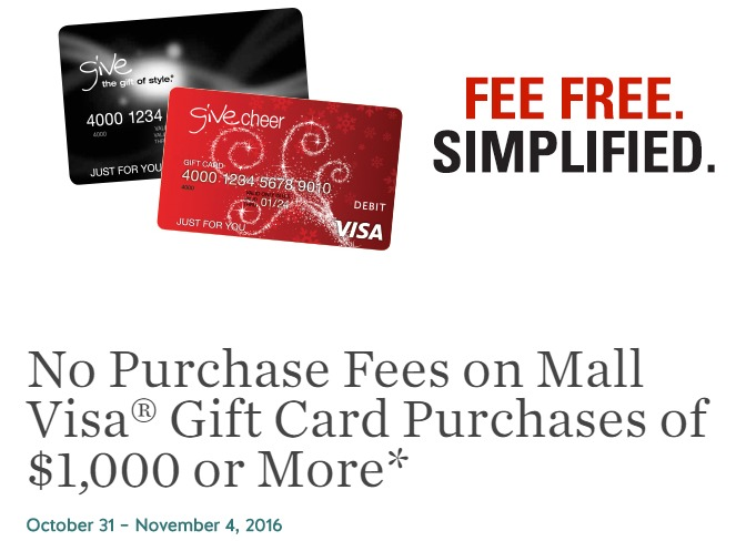 HOT! No-Fee Visa Gift Cards At Macerich Malls Till 11/4 - Danny ...