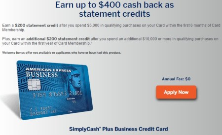 Amex simplycash plus business card bonus lowered to 400 danny the amex simplycash plus business card bonuseg reheart Choice Image