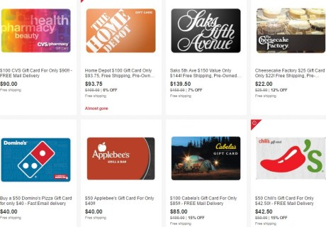 Gift Cards Deals On eBay
