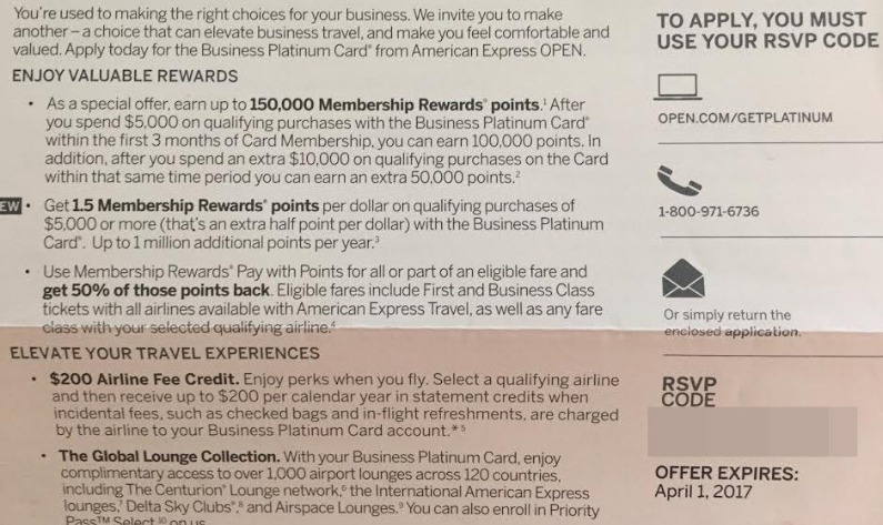 Amex Business Platinum, Targeted 150K Bonus With $15K Spend