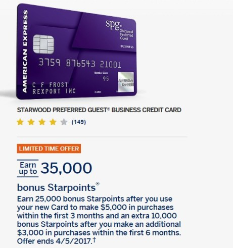 Best ever 35k offer for business amex spg card danny the deal guru starwood preferred guest business credit card business credit colourmoves