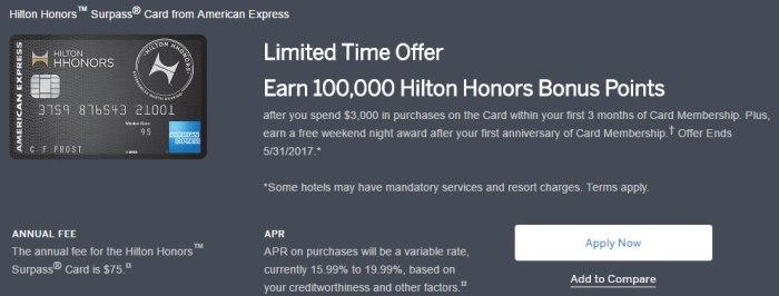 Amex Hilton Surpass
