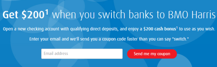 BMO Harris checking bonus 200