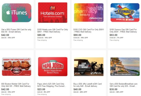 More Discounted Gift Cards On Ebay, Plus 2% Cash Back And 5x
