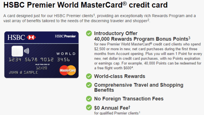 HSBC Credit Card Offers, Up To $600 Bonus If You Have Premier