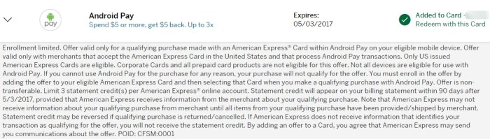 Amex Offer Android Pay