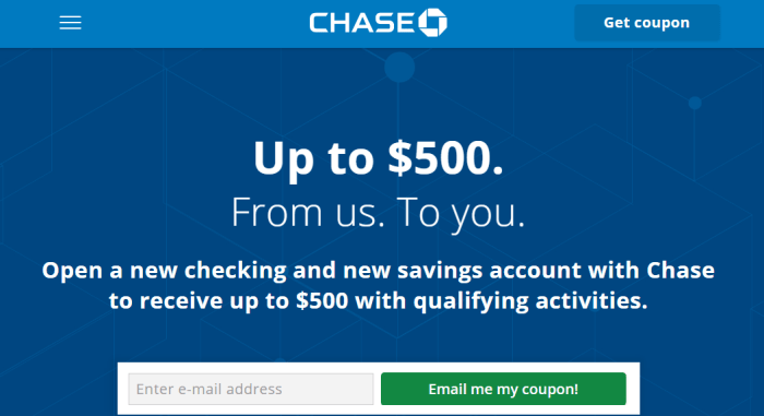 Chase $500 Checking Savings Bonus