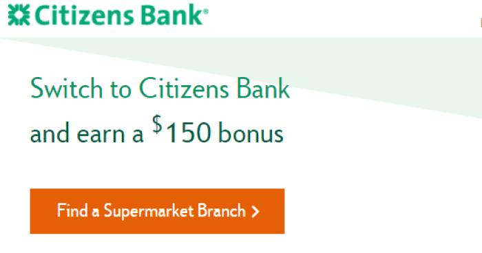 Citizens Bank 150 checking account bonus