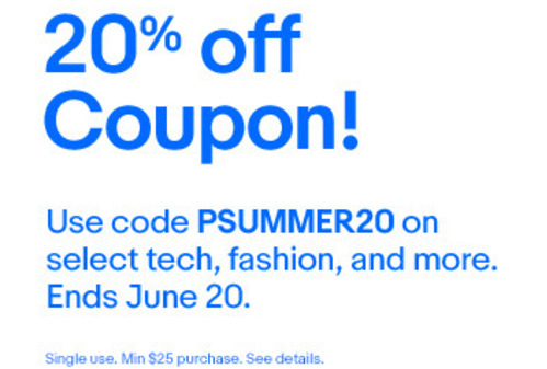 ebay coupon code 20