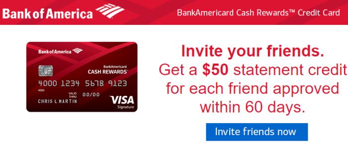 BankAmericard Cash Rewards referral bonus
