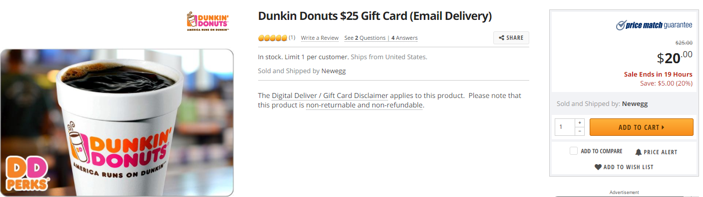 Newegg, $25 Dunkin Donut Gift Card For $20 Plus 3% With Visa ...