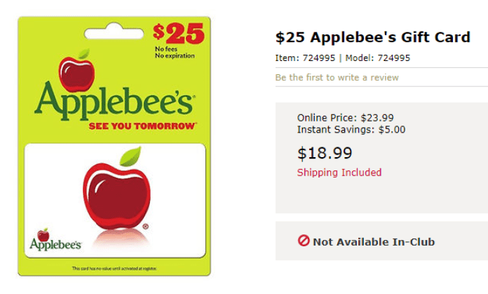 discounted applebee's gift cards