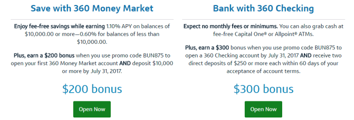 360 Money Market and Checking. Two great accounts.