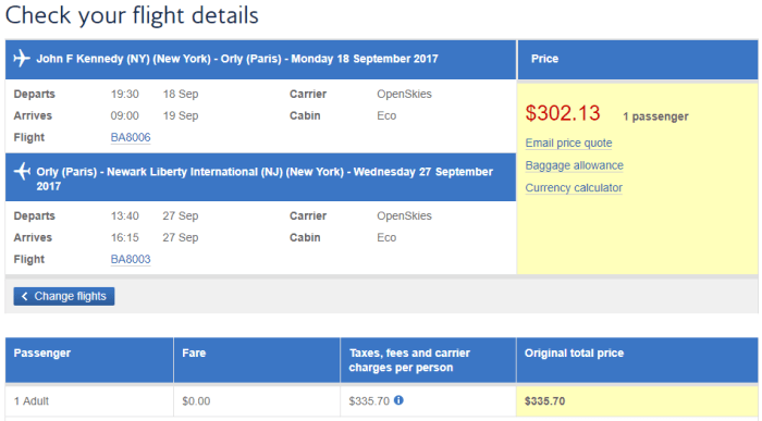 cheap fares nyc paris