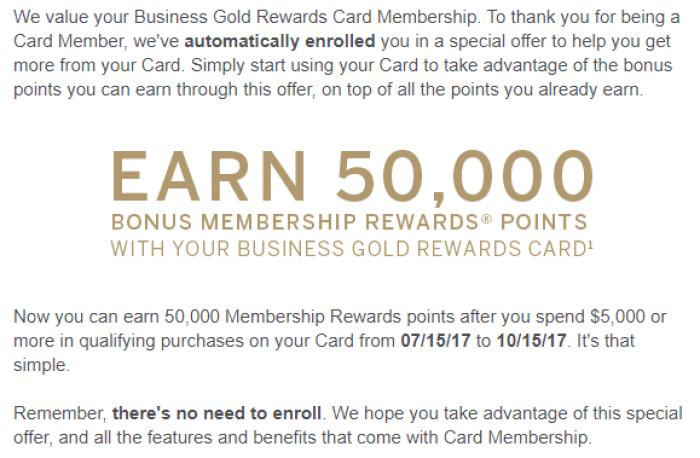 amex business gold rewards spending bonus 50K