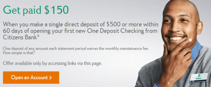 citizens bank checking bonus 150