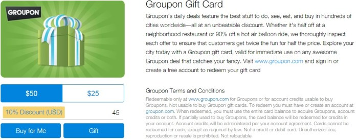ppdg discounted groupon gift cards