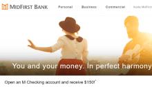 MidFirst Bank checking bonus 150