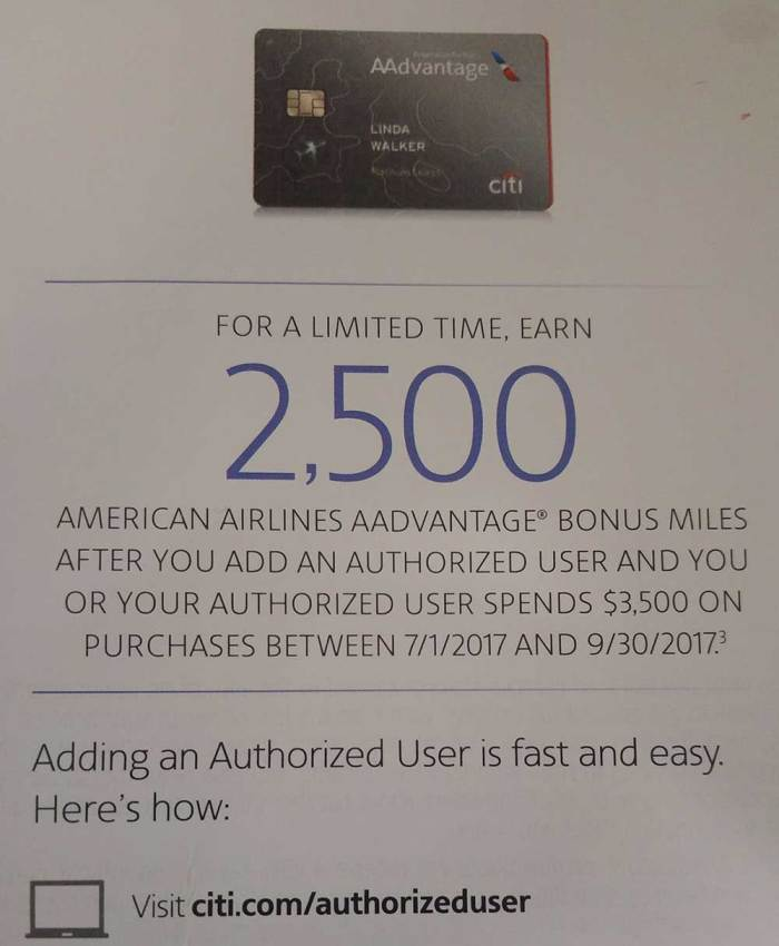 AAdvantage authorized user offer