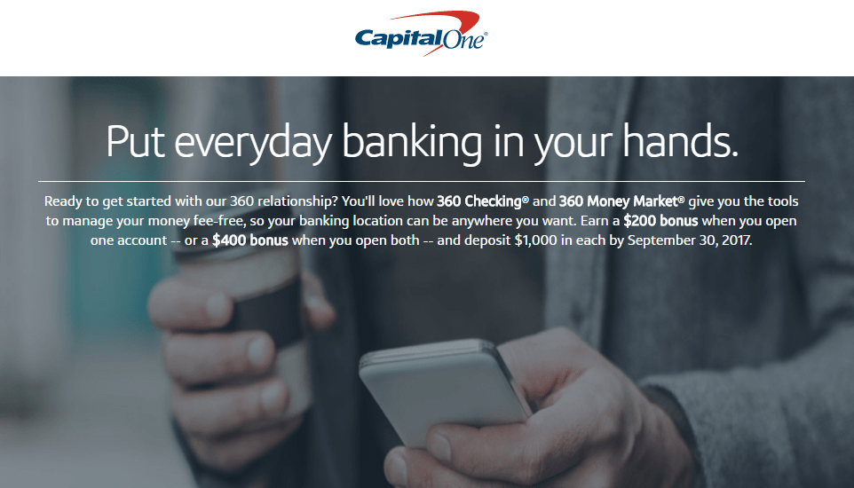 Capital One 360, Earn Up To $400 With New Checking And Money Market Accounts