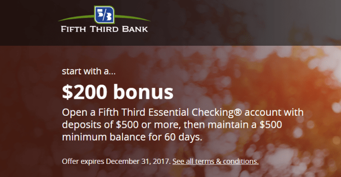 Fifth Third Bank bonus 200