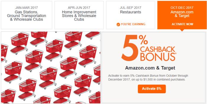 discover q4 bonus categories amazon target