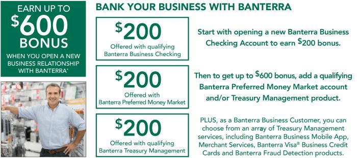 Banterra Bank busines checking bonus 400