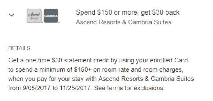 Ascend Resorts & Cambria Suites amex offer
