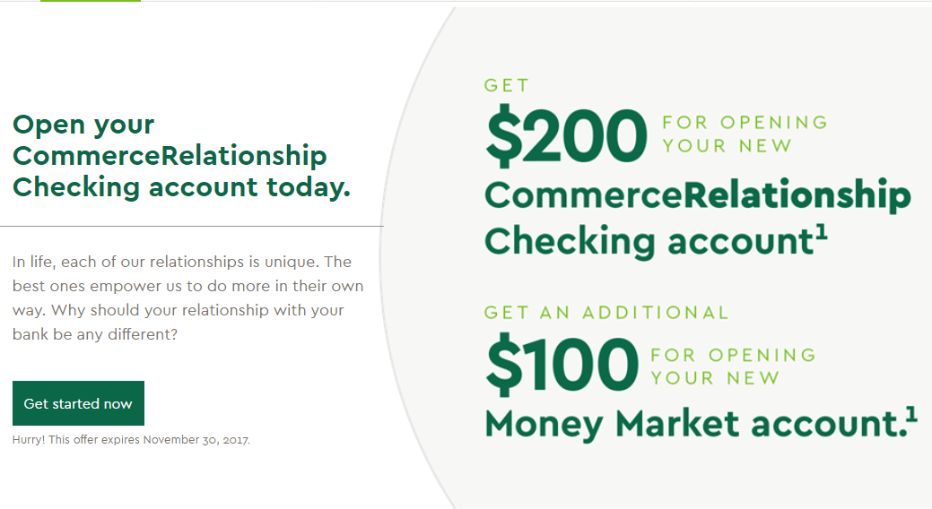 Commerce Bank, $300 Checking And Money Market Bonus (Select States)