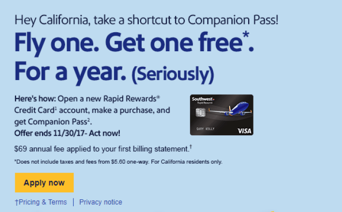 California Southwest Companion pass