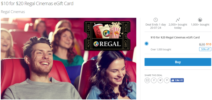 discounted Regal Cinemas eGift Card