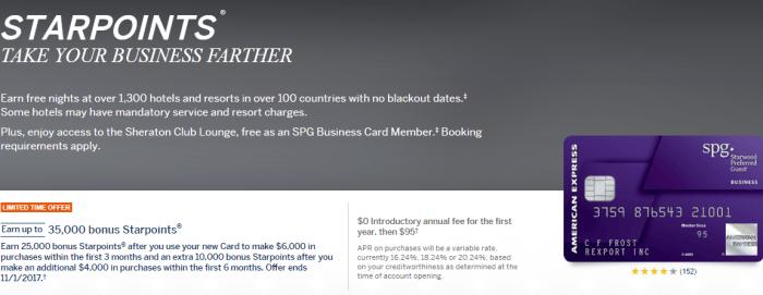 Amex SPG Business Card, 35K Starpoints Bonus