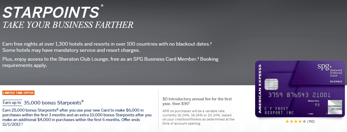 Amex spg business card 35k starpoints signup bonus ends 11117 amex spg business card 35k starpoints bonus colourmoves
