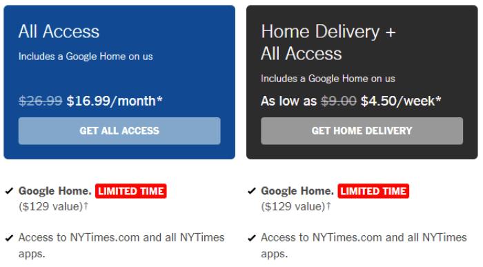 new york times free google home