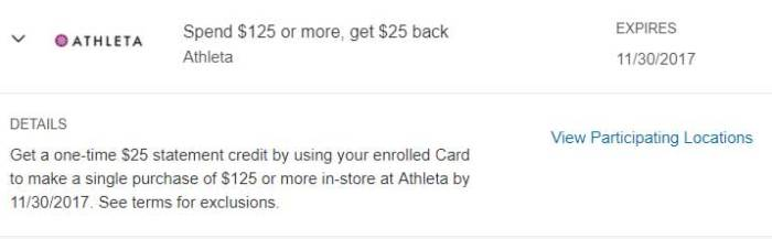 Athleta Amex Offer