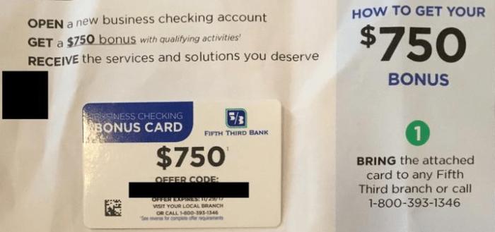 Fifth Third Bank, $750 Business Checking Account Bonus