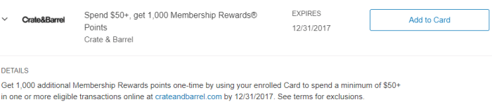 Crate & Barrel Amex Offer