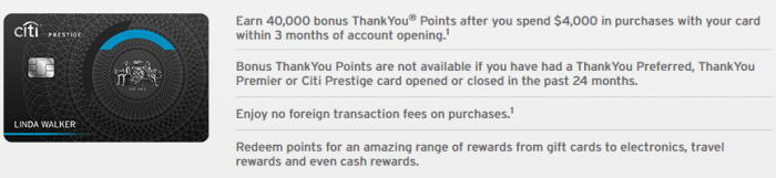 Citi Prestige, 40K ThankYou Points