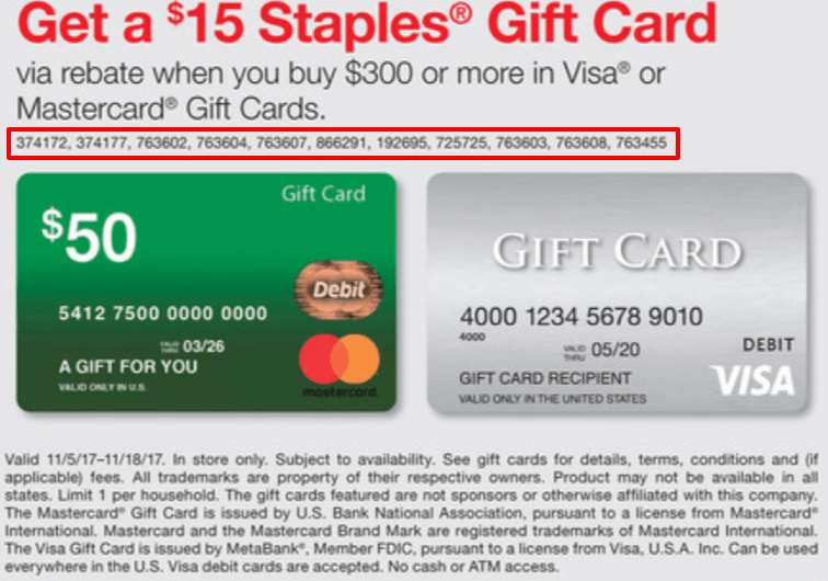 Issues With Latest Staples Visa/Mastercard Gift Card Deal - Danny ...