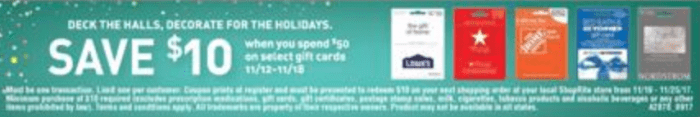 shoprite gift card sale