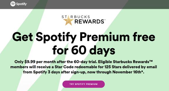 Try Spotify For Free, Get 125 Starbucks Bonus Stars - Danny