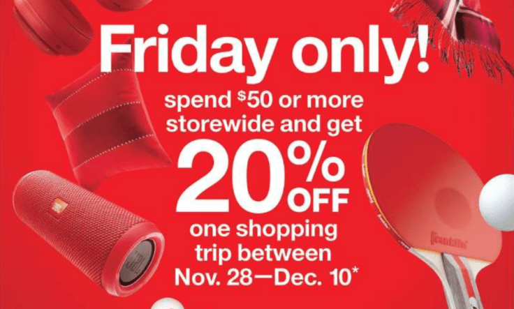 Target Black Friday Offer, Get 20% Off Coupon When You Spend $50 On 11/24