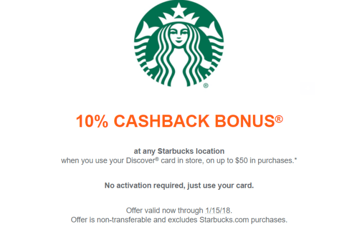 10% Off Starbucks With Your Discover Card