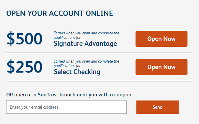suntrust bank bonus