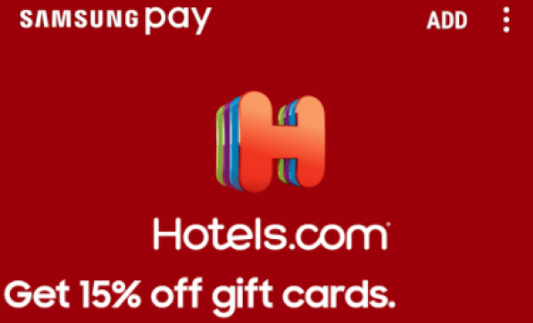 Hotels.com Gift Cards With Samsung Pay